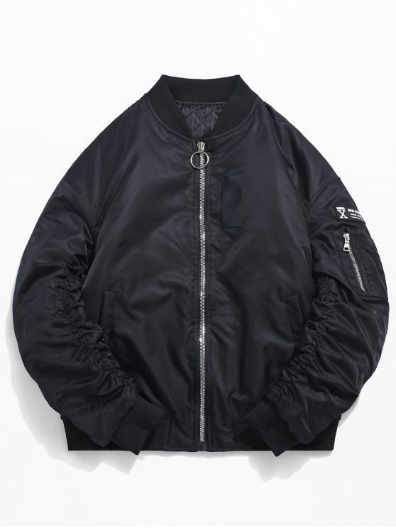 Cuello alto con cremallera bolsillo manga chaqueta acolchada - Negro XL