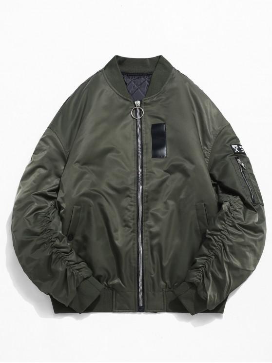 Cuello alto con cremallera bolsillo manga chaqueta acolchada - Ejercito Verde XL