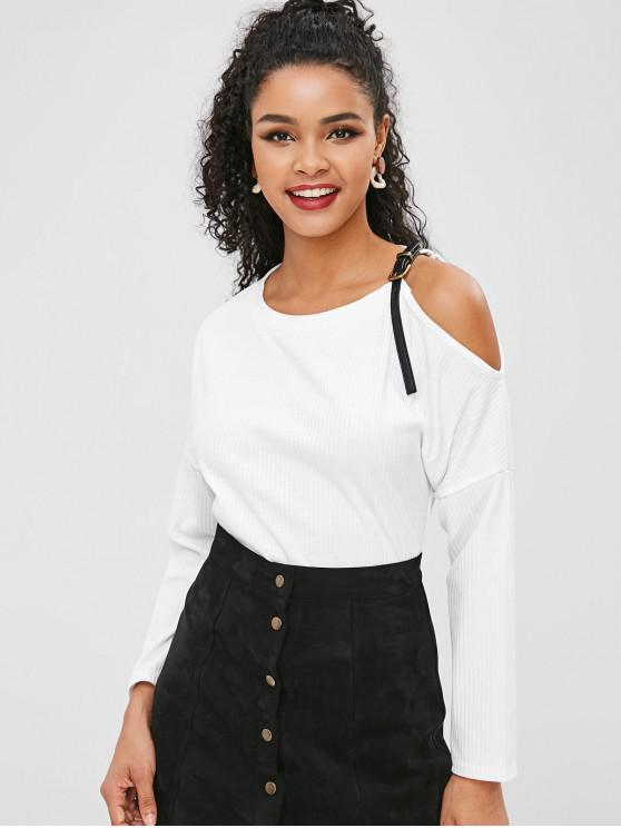 9fbc65b063f 44% OFF] 2019 Buckled Cold Shoulder Top In WHITE | ZAFUL