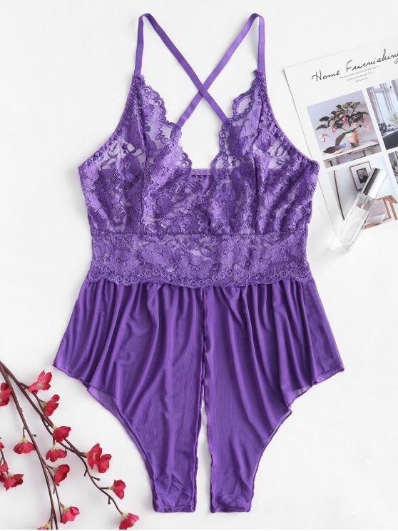 affordable Lace Insert Cami Criss Corss Lingerie Romper - PURPLE 2XL