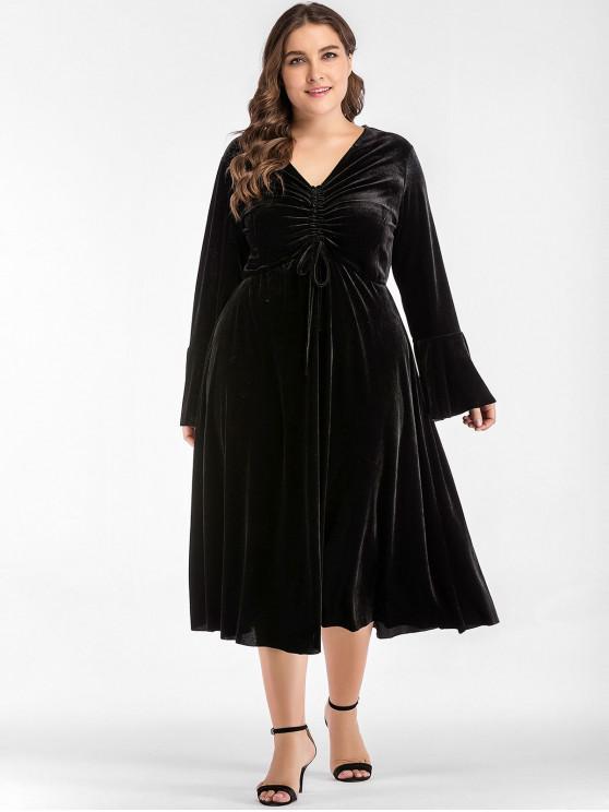 Gathered Midi Plus Size Velvet Dress BLACK