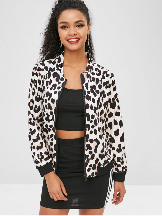 trendy Ribbed Trim Leopard Jacket - LEOPARD M