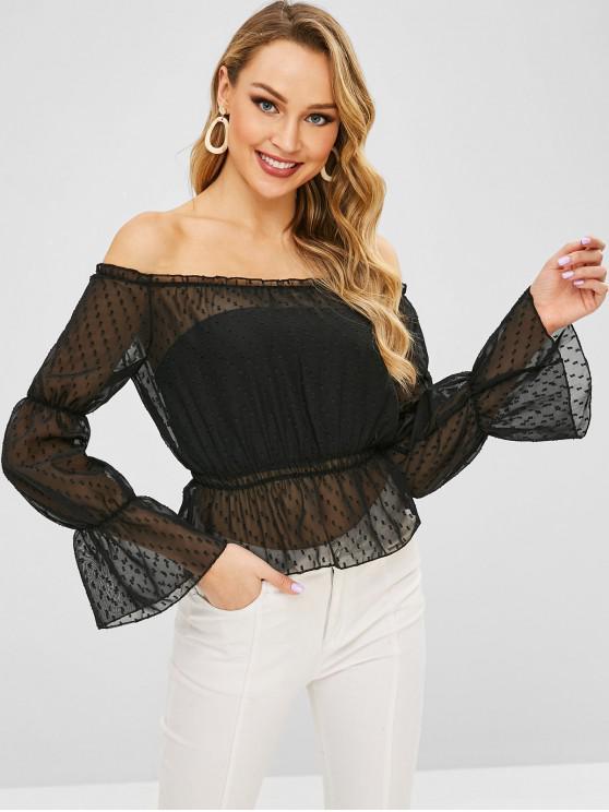 women Sheer Frilled Off The Shoulder Blouse - BLACK XL