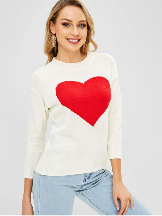 lady Heart Graphic Crew Neck Sweater - WHITE ONE SIZE