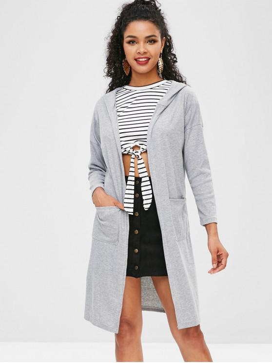 latest Ribbed Hooded Cardigan - GRAY L