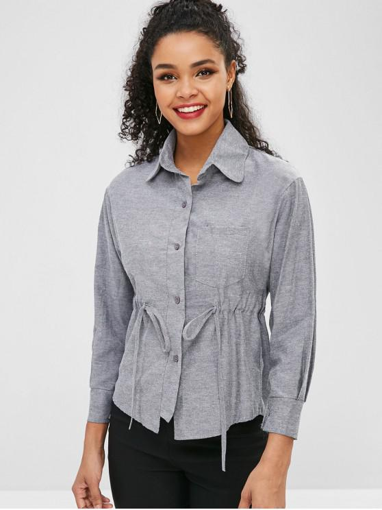 unique Waist Drawstring Button Up Shirt - GRAY M