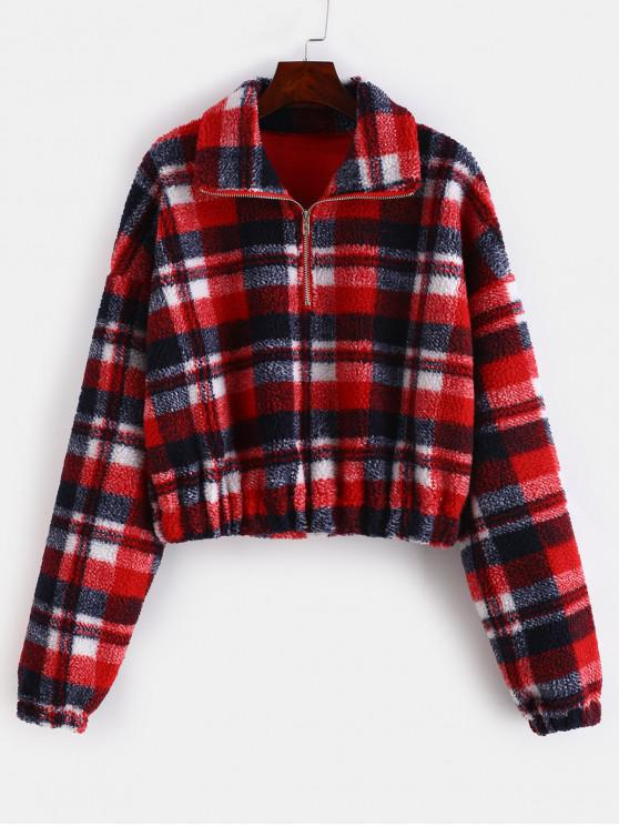 Plaid Crop Faux Fur Sweatshirt   Multi B S by Zaful