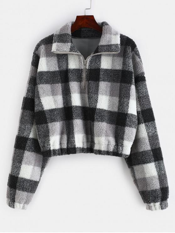 Plaid Crop Faux Fur Sweatshirt   Multi A S by Zaful