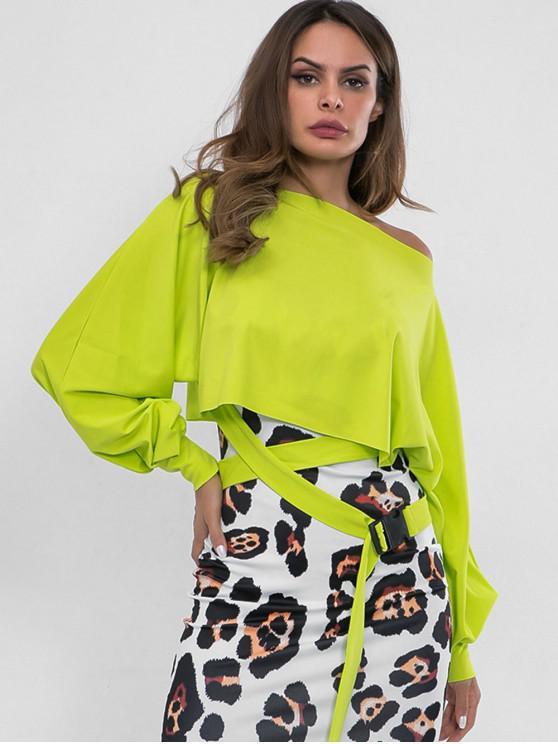 Sweat-shirt Embelli de Ceinture à Col Oblique - Vert Thé S