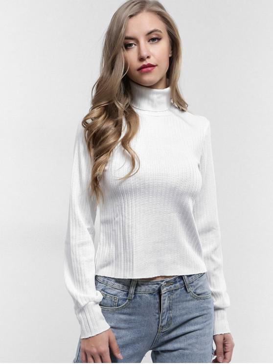 shop Turtleneck Plain Knitted Top - WHITE L