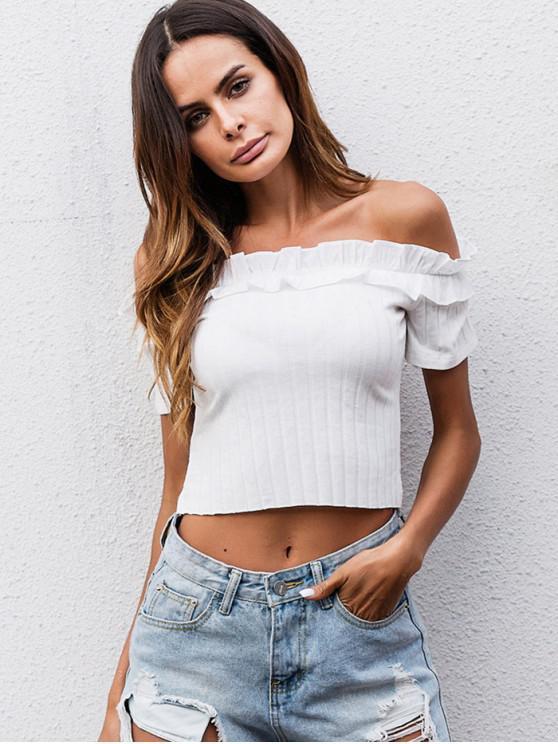 T-Shirt Corta Con Volant A Spalle Scoperte - Bianco S