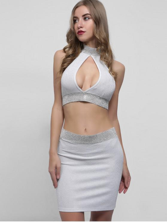 fancy Sparkly Keyhole Top and Skirt Set - WHITE L