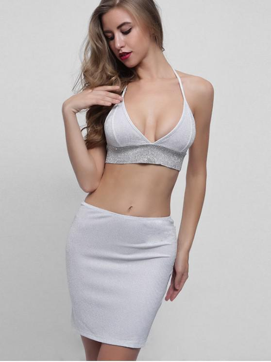 fashion Sparkly Backless Halter Top and Skirt Set - WHITE M