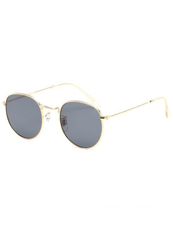 unique Unique Metal Full Frame Flat Lens Sunglasses - TAUPE