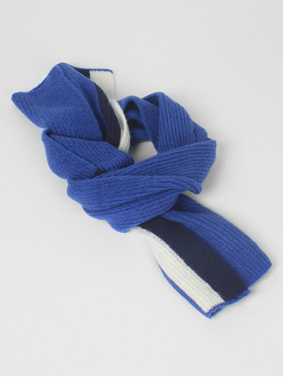 Vintage Color Block Thick Scarf - blu scuro