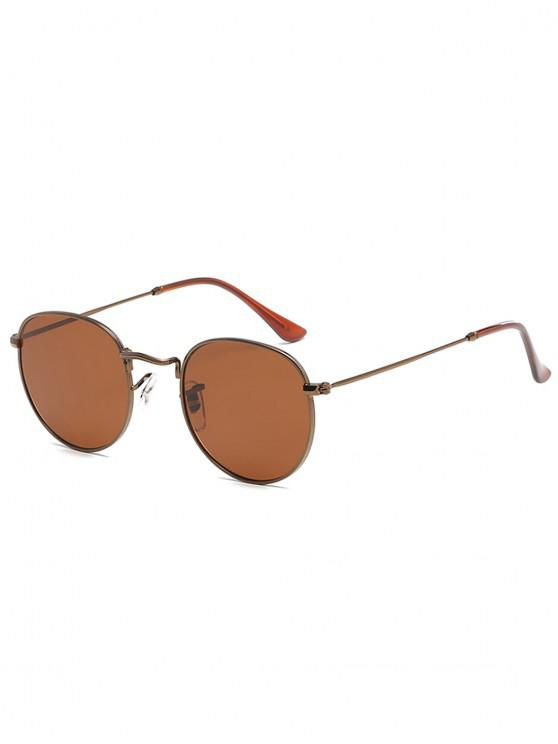 latest Unique Metal Full Frame Flat Lens Sunglasses - COFFEE