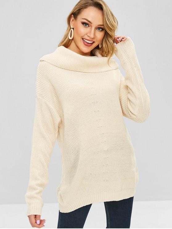 Suéter de cuello redondo sencillo - Beige Única Talla