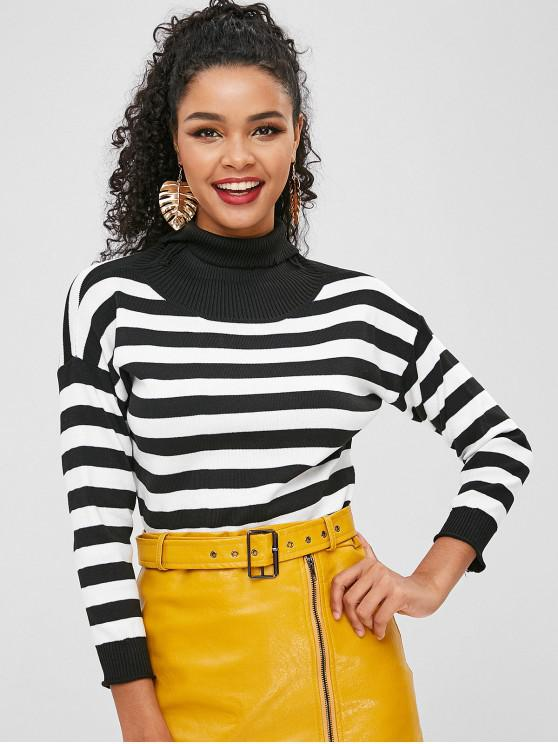 ladies Stripe Turtleneck Sweater - MULTI ONE SIZE