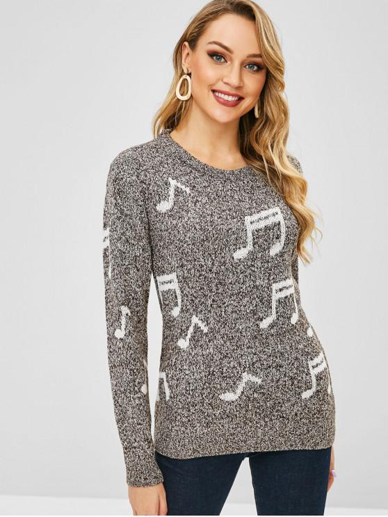 best Musical Notes Pullover Jumper - DARK GRAY ONE SIZE