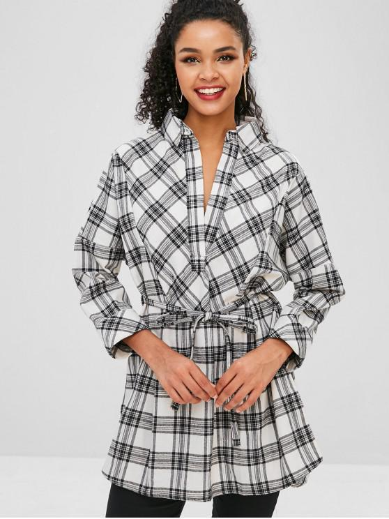 fancy Checked Side Slit Tunic Blouse - MULTI-A L
