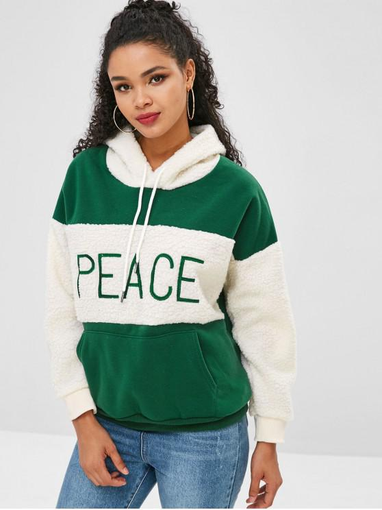 online Letter Embroidered Fluffy Insert Hoodie - GREEN ONE SIZE