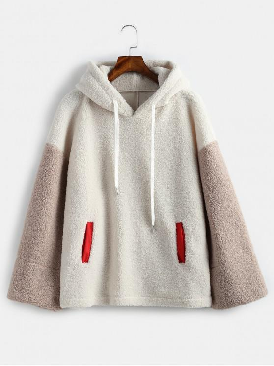 lady Color Block Teddy Oversized Hoodie - WARM WHITE ONE SIZE