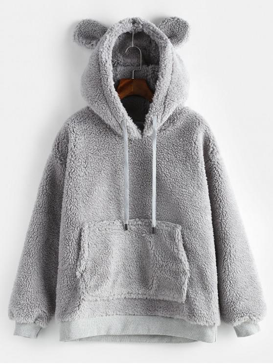 Pouch Pocket Winter Fleece Hoodie   Gray Cloud M by Zaful