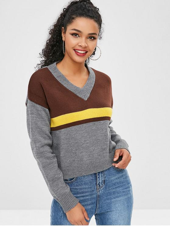 latest V Neck High Low Sweater - MULTI ONE SIZE