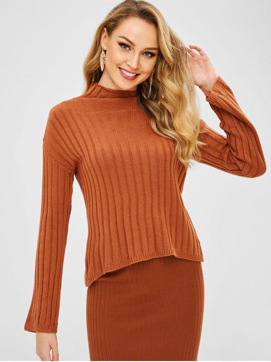 womens Plain High Neck Sweater - ORANGE SALMON ONE SIZE