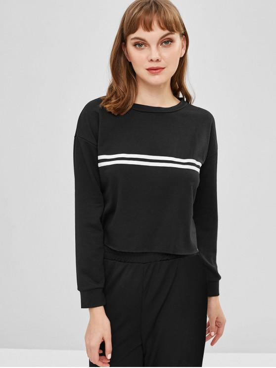 fancy Striped Cropped Pullover Sweatshirt - BLACK S