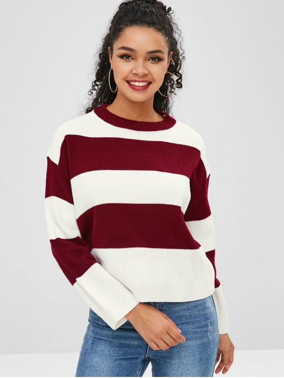 women's Color Block Striped Drop Shoulder Sweater - RED WINE ONE SIZE