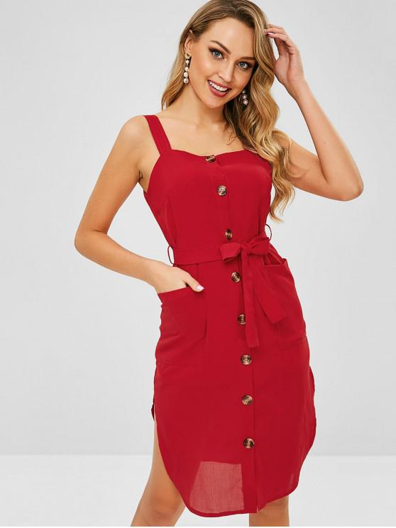 women's ZAFUL Belted Pockets Button Up Dress - CHERRY RED L