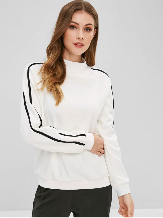 Sweat-shirt Lettre Rayé à Manches Raglan - Blanc M