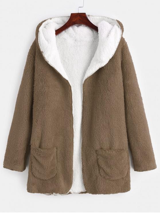 buy Front Pocket Fluffy Coat - DARK KHAKI L