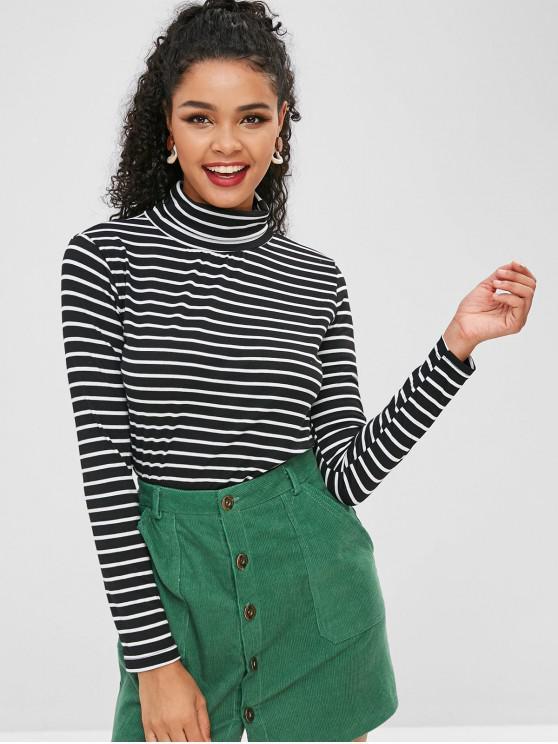 1a87a4a8cb72 21% OFF] 2019 Striped Turtleneck T-shirt In BLACK | ZAFUL