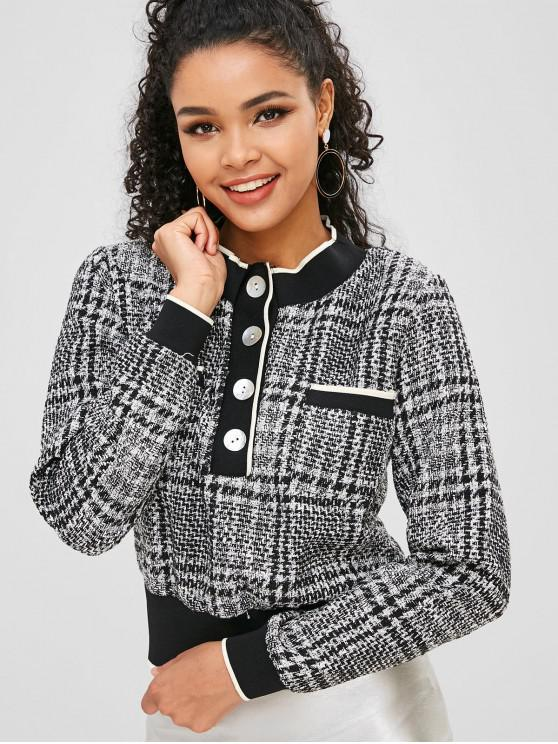 latest Half-button Tweed Sweatshirt - MULTI-A M