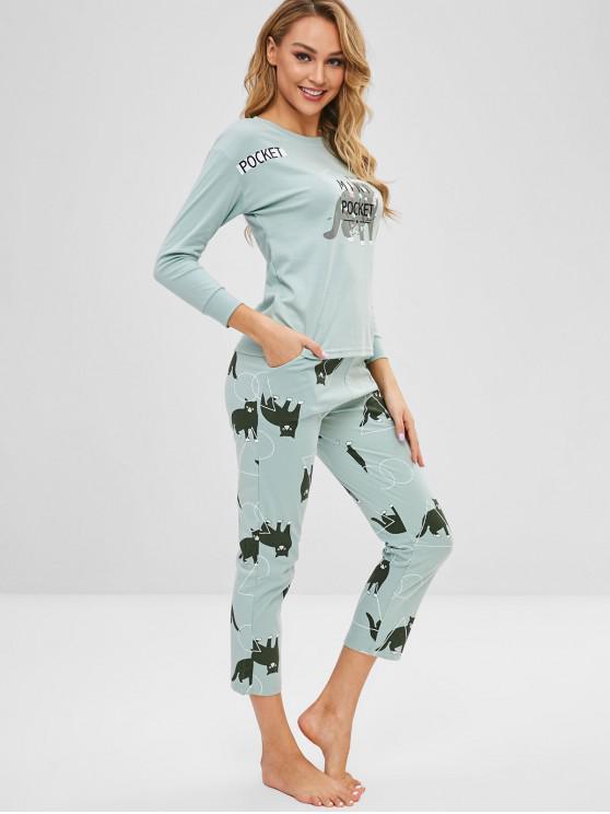Conjunto de pijama con forma de flor y caída de gato - Lirio Azul Claro 2XL