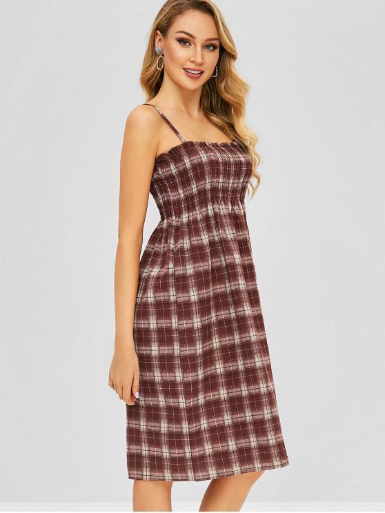 women Smocked Plaid Cami Dress - MULTI M