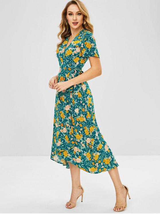 Vestido envuelto floral maxi - Multicolor M