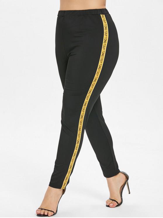 Buchstaben-Patch Plus Size Pants - Schwarz 2X