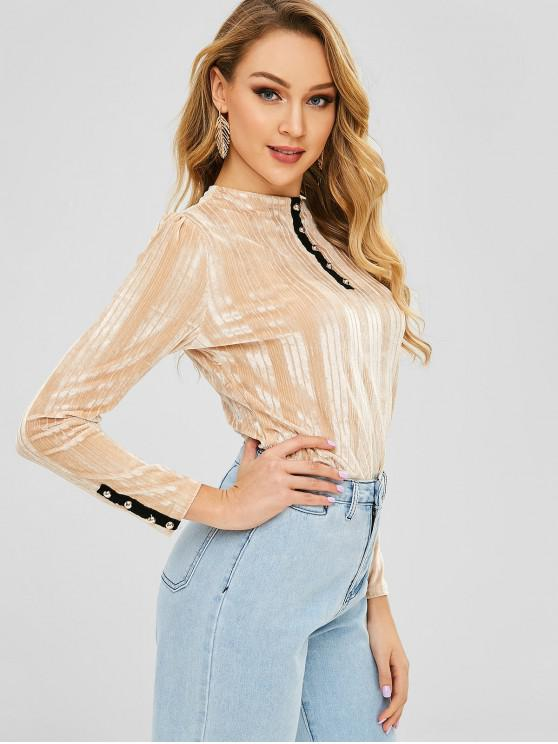 lady Buttons Embellished Long Sleeves Velvet Tee - CHAMPAGNE M