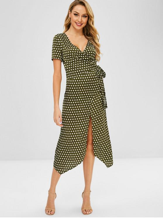 online Tie Slit Polka Dot Dress - DARK GREEN S