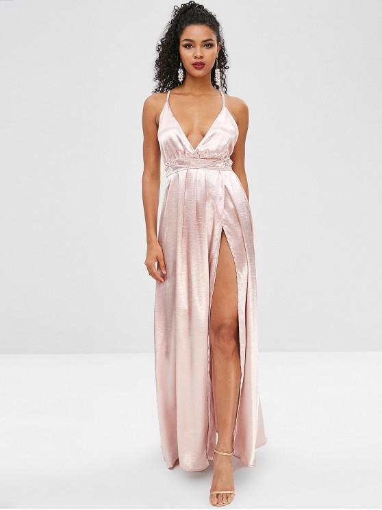 fe16fdf495ee 35% OFF  2019 Plunging Surplice Dress With Backless In SAKURA PINK ...