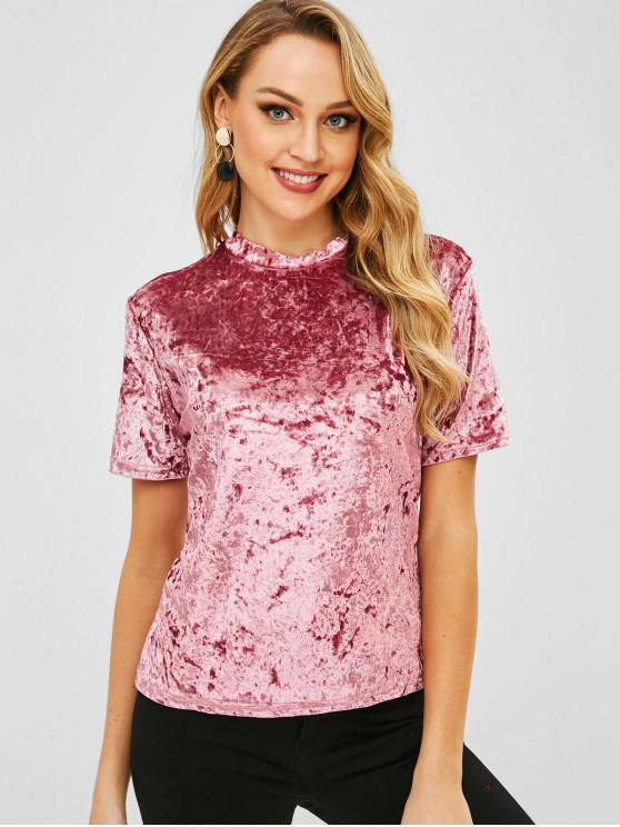 outfit Plain Velvet T Shirt - LIPSTICK PINK XL