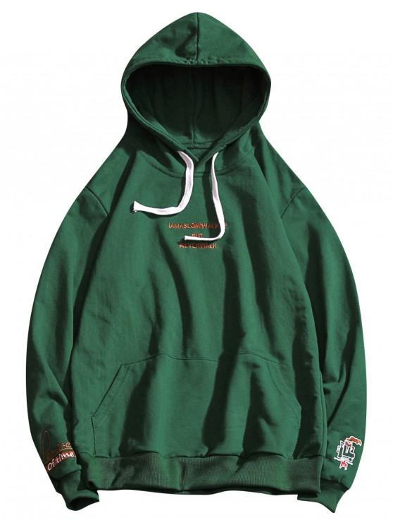 new Letter Embroidery Drawstring Hoodie - MEDIUM SEA GREEN L