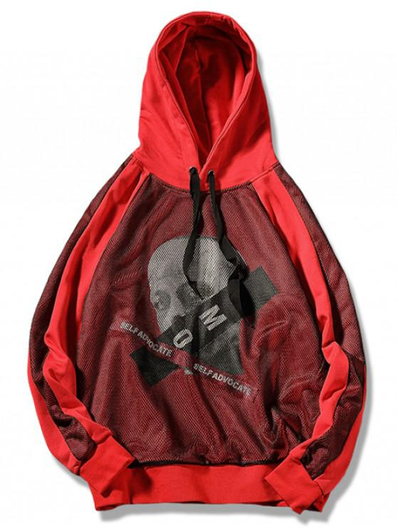 shops Human Head Stipe Letter Mesh Splicing Hoodie - LAVA RED XL
