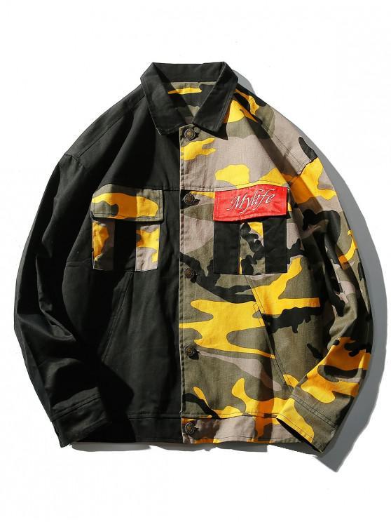 sale Color Block Camo Patchwork Pockets Jacket - YELLOW 2XL