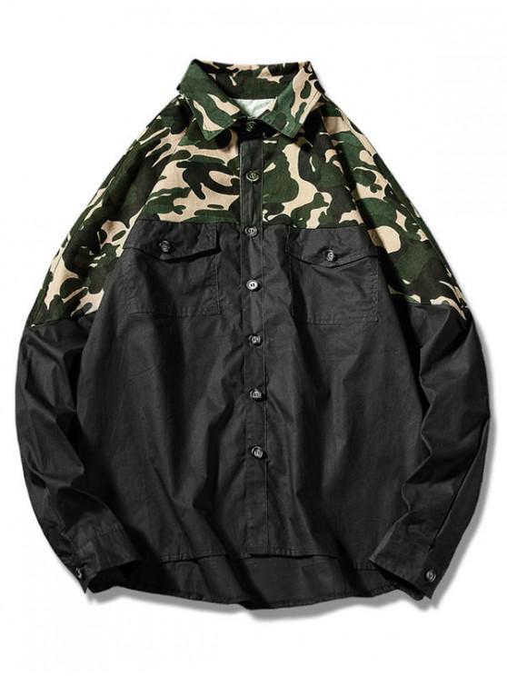 Camicia Di Camo Con Tasca - Nero L