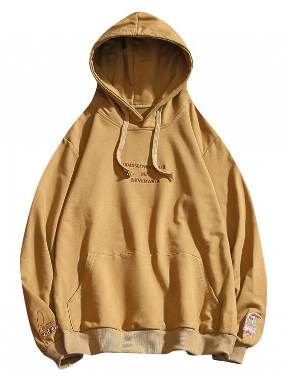 women Letter Embroidery Drawstring Hoodie - GOLDEN BROWN M
