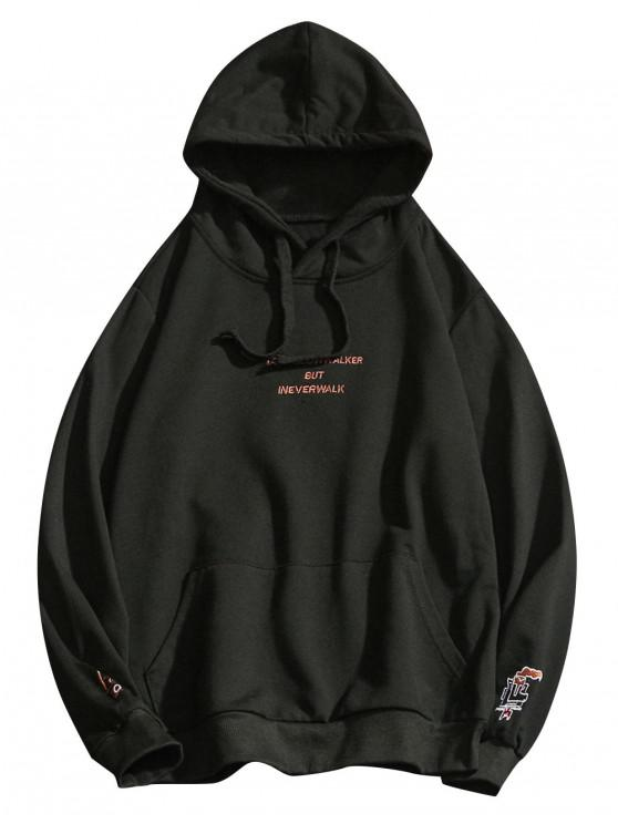 women Letter Embroidery Drawstring Hoodie - BLACK L